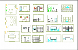 Office building plan view with interior view  detail dwg file