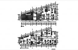 Office building plan with detail dimension in dwg file