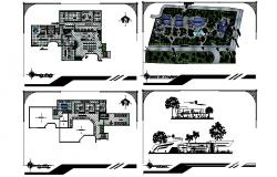 Office building plan with the different section in autocad