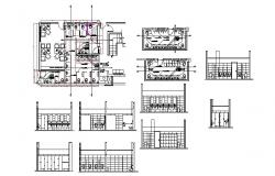 Office building sanitary section, plan and installation details dwg file