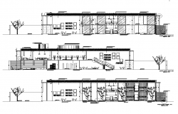 Office building structure detail section 2d view layout dwg file