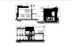 Office building two-story elevation and section cad drawing details dwg file