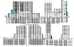 Office building with hotel and shopping elevations and sections view dwg file