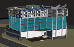 Office commercial 3d building view dwg file