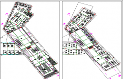 Office complex building floor plan layout details dwg file