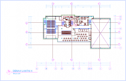 Office design with fourth floor plan with architecture view dwg file