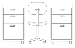 Office desk front elevation dwg file