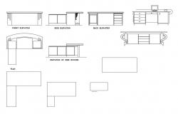 Office desk table all sided elevation, runner and plan details dwg file