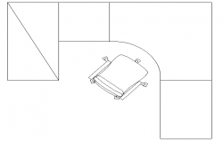 Office desk with chair top view cad design dwg file