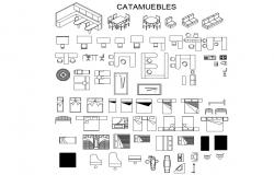 Office desks, double beds etc miscellaneous furniture blocks cad drawing details dwg file