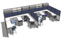 Office desks and furniture blocks 3d model cad drawing details skp file