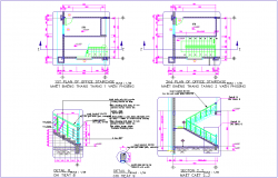 Office floor stair view with detail with construction view dwg file