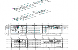 Office floors general layout with sanitary installation dwg file