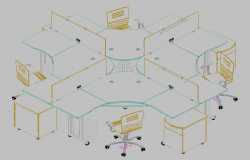 Office furniture 3d view dwg file