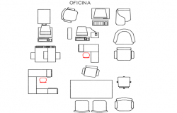 Office furniture detail dwg file