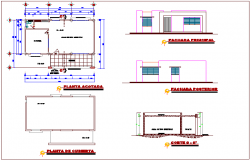 Office of communication building ground floor plan,elevation and section view dwg file