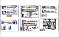 Office plan and section view, architectural,door, window,sanitary, electrical view dwg file