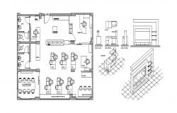 Office plan with furniture layout and sanitary cad drawing details dwg file