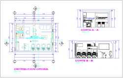 Office plan with section view dwg file