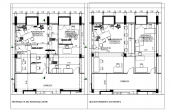 Office remodeling plan detail dwg file