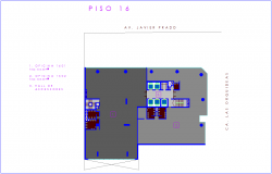 Office sixteen floor plan with architectural view dwg file