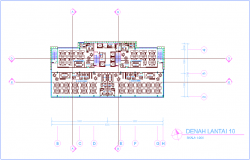 Office tenth floor plan with architectural view dwg file