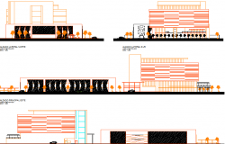 Office tower and parking elevation dwg file