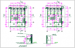 Office wash room plan detail view dwg file
