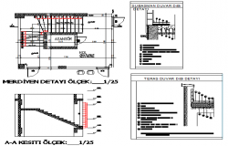 Office with mi-nary center constructive and sectional details dwg file
