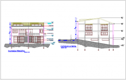 Office with multi family housing area different axis elevation dwg file