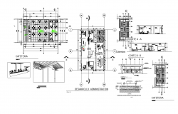 Offices-cafeteria Section plan and layout plan dwg file