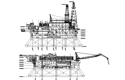 Oil refinery machine elevation dwg file