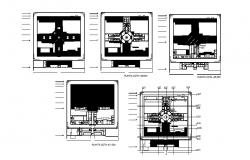 Old provincial prison Coruna building floors and cover plan details dwg file