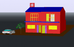 One family 3 D house detail dwg file