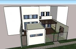 One family 3d house exterior elevation model cad drawing details dwg file