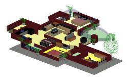 One family 3d house model cad drawing details dwg file