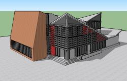 One family beautiful bungalow 3d drawing details dwg file