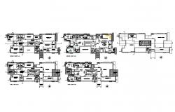 One family bungalow floor plan layout cad drawing details dwg file