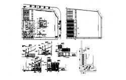 One family house all sided section, floor plan and auto-cad details dwg file