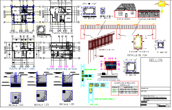 One family house constructive and layout plan details dwg file