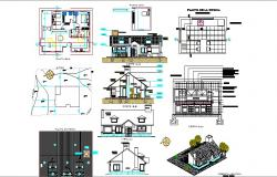 One family house detailed architecture project cad drawing details dwg file