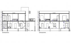 One family house facade and back sectional details dwg file