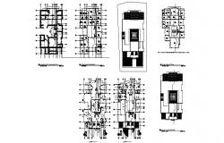 One family house floor plan, cover plan and auto-cad details dwg file