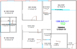 One family house layout plan details dwg file