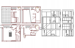 One family house sectional view and floor plan details dwg file