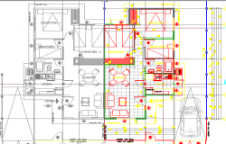 One family housing architecture layout plan dwg file