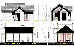 One family housing elevation and section details dwg file