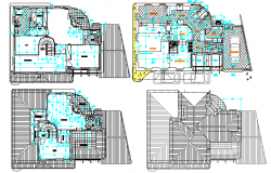 One family housing floor plan layout details with interior dwg file