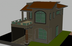 One family housing temporary style 3 D autocad file