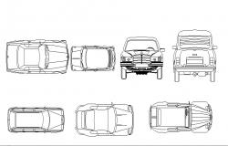 One family luxuries car elevation blocks details dwg file